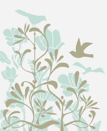 Decorative, natural background with birds and plants Ilustração