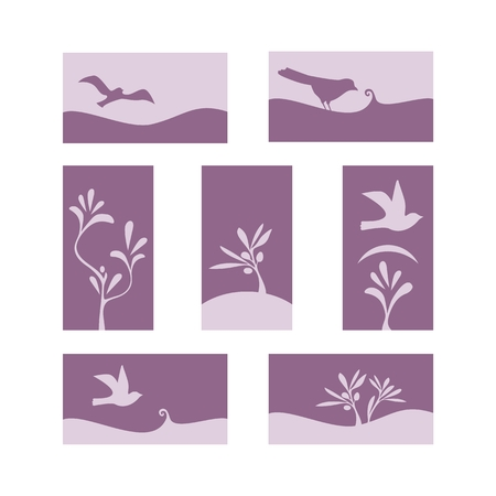 Decorative, natural cards with birds and plant elements