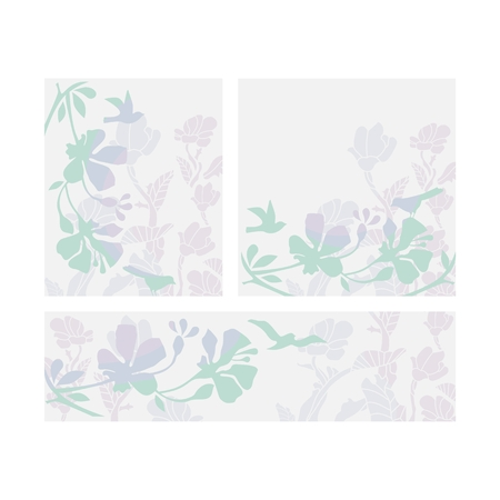 Decorative cards set with birds and floral elements