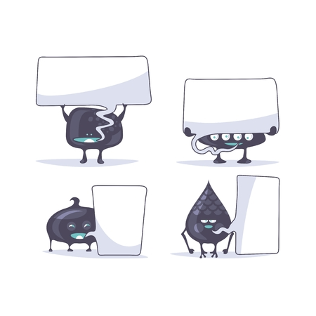 Set of funny creatures with speech balloons
