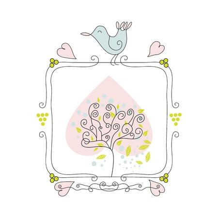Cute seasonal frame with tree and bird