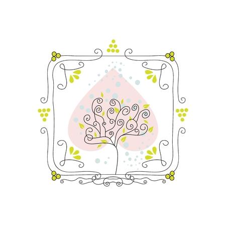 Cute, decorative, doodled seasonal frame with tree