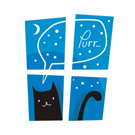 purring: Night or winter scene with cute cat purring outside a window Illustration