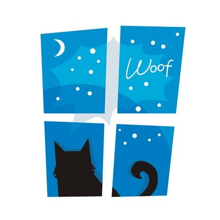 Night or winter scene with barking dog outside a window Ilustração