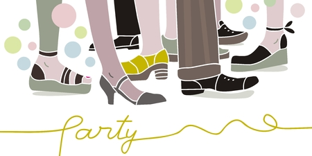 social actions: Party scene with legs and shoes of people