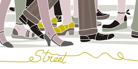 Street scene with walking people in rush hour