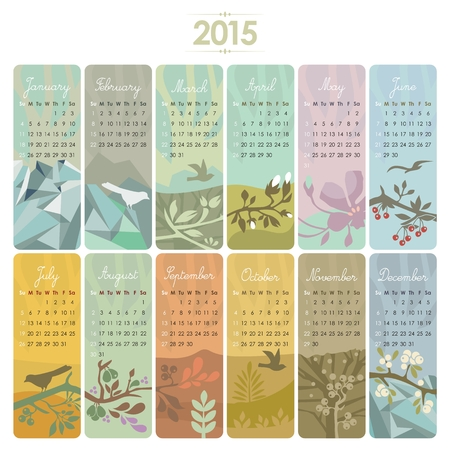 agenda year planner: 2015 Calendar set with vertical banners or cards  Week starts on Sunday