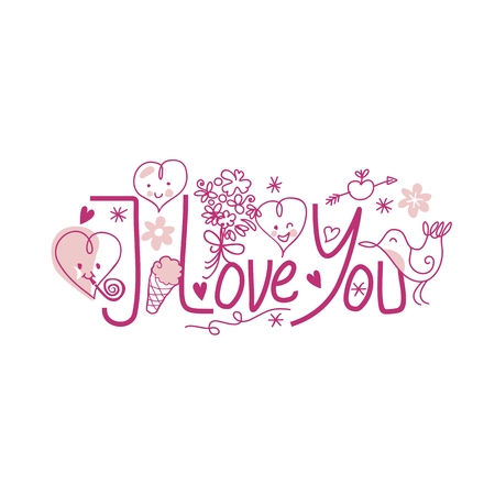 Valentines Day I Love You text with cute elements