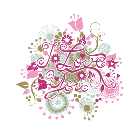 I Love You floral group with decorative elements Vector
