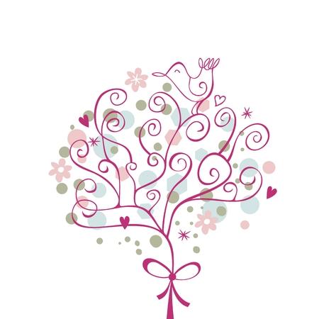 Festive tree with cute bird on top