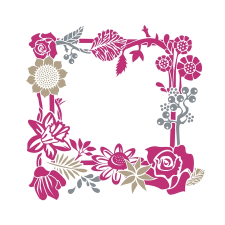 Decorative frame with floral and plant elements