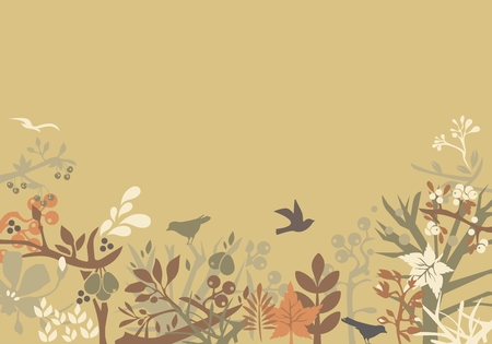 blended: Decorative background with blended seasons and space for text