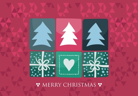 Christmas card with decorative elements on abstract background
