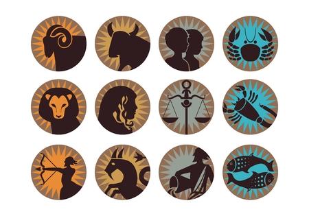 The twelve signs of the modern zodiac Ilustração