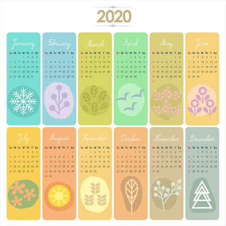 2020 Calendar set with vertical banners or cards. Weeks start with Sunday.