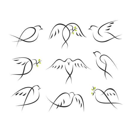 Pigeons icons set symbolising peace and freedom