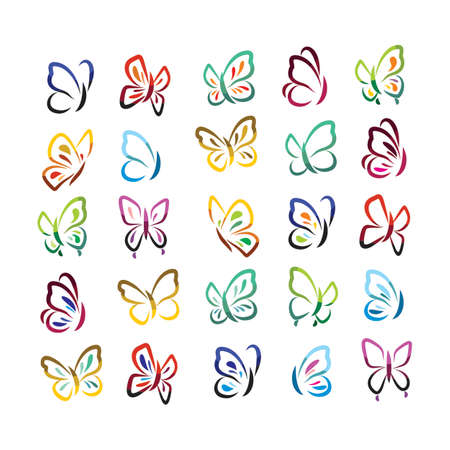 Cheerful set with colorful butterflies icons