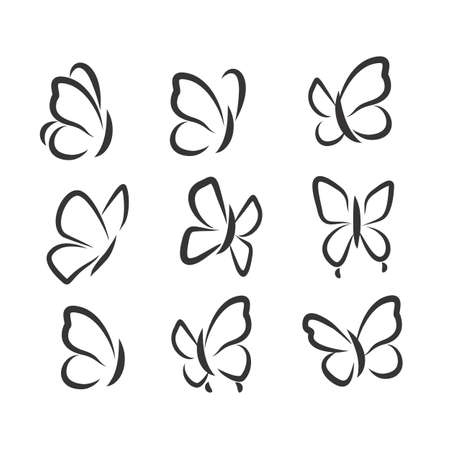 Black and white set with colorable butterflies icons