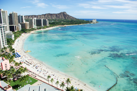 diamond head: Waikiki Beach and Diamond Head, Honolulu, Oahu Island, Hawaii