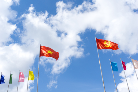 Flag of Vietnam and the Communist Party flag