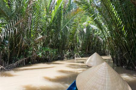 mekong river: Mekong River Delta jungle cruise in Vietnam Stock Photo