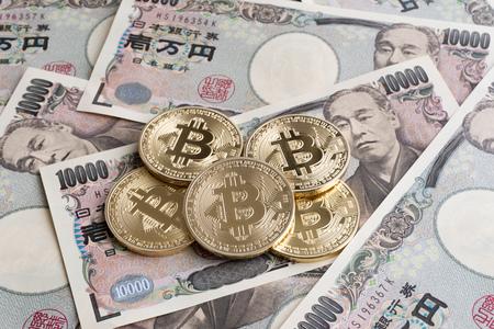 Bitcoin と日本円 写真素材