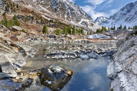 the altai mountains: Mountain lake, Altai mountains, Katun ridge  Stock Photo
