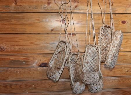 Vecchi sandali russi - liberiane scarpe fatte di corteccia Archivio Fotografico
