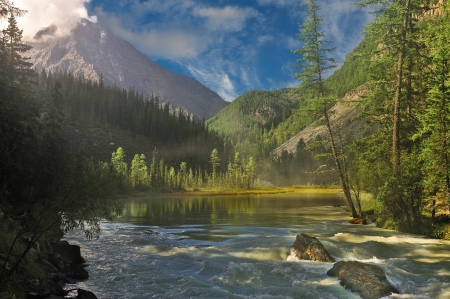 Bergmeer, West-Siberië, Altai bergen, Katun ridge
