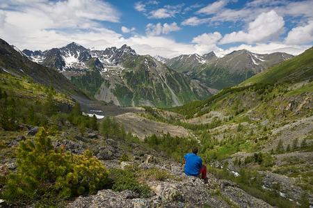 cascade range: Mountain lake, Russia West Siberia, Altai mountains, Katun ridge