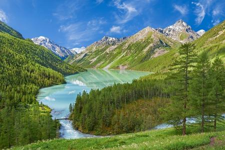 Bergmeer, Rusland West-Siberië, Altai gebergte, Katun nok.