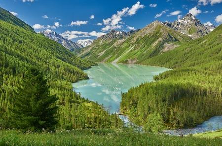Bergmeer, Rusland West-Siberië, Altai-bergen, rand Katun.