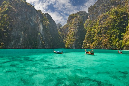 Travel vacation background - Tropical island with resorts - Phi-Phi island, Krabi Province, Thailand. photo