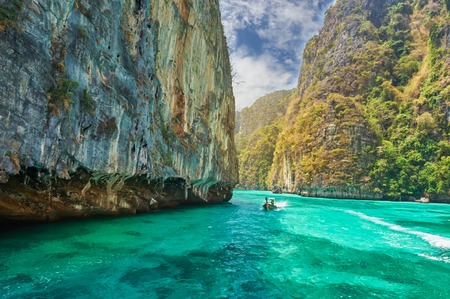 Travel vacation background - Tropical island with resorts - Phi-Phi island, Krabi Province, Thailand. Stock Photo