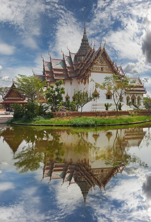 patronage: Replica of Dusit Maha Prasat Palace, Ancient Siam (formerly known as Ancient City) is a park constructed under the patronage of Lek Viriyaphant and spreading over 200 acres in the shape of Thailand.