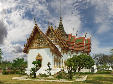 patronage: Ancient Siam (formerly known as Ancient City) is a park constructed under the patronage of Lek Viriyaphant and spreading over 200 acres (0.81 km2) in the shape of Thailand. Stock Photo
