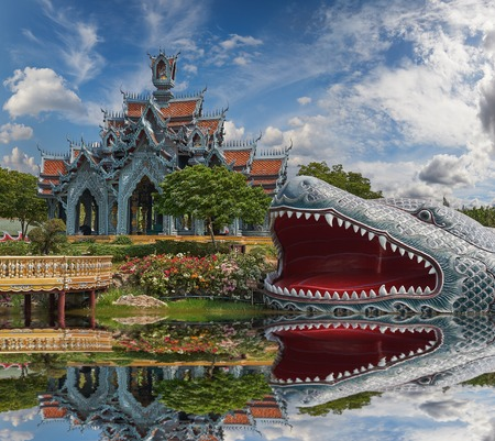 patronage: Sumeru Mountain, Ancient Siam (formerly known as Ancient City) is a park constructed under the patronage of Lek Viriyaphant and spreading over 200 acres (0.81 km2) in the shape of Thailand.