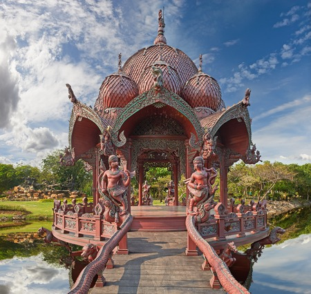 patronage: Ancient Siam (formerly known as Ancient City) is a park constructed under the patronage of Lek Viriyaphant and spreading over 0.81 km2 in the shape of Bangkok, Thailand.