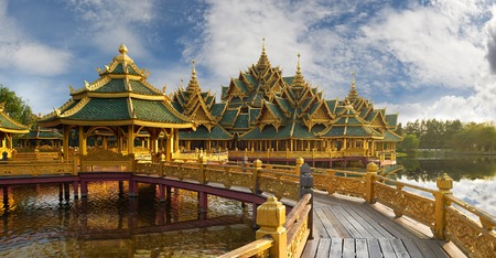 patronage: Pavilion of the Enlightened, Ancient Siam (formerly known as Ancient City) is a park constructed under the patronage of Lek Viriyaphant and spreading over 0.81 km2 in the shape of Bangkok, Thailand. Editorial