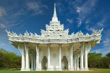 patronage: Phra That Mondop, Ancient Siam (formerly known as Ancient City) is a park constructed under the patronage of Lek Viriyaphant and spreading over 0.81 km2 in the shape of Bangkok, Thailand.