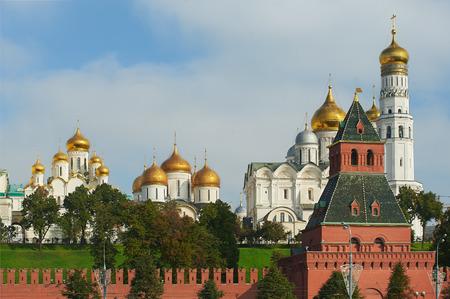 Vista bella e famosa di Mosca Kremlin Palace e chiese, Russia Editoriali