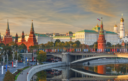 city light: Beautiful and Famous view of Moscow Kremlin Palace and Churches, Russia