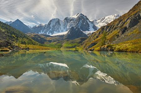 cascade range: Mountain lake Russia Siberia Altai mountains Chuya ridge.
