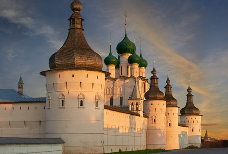 assumption: Assumption Cathedral and church of the Resurrection in Rostov Kremlin. The ancient town of Rostov The Great is a tourist center of the Golden Ring of Russia. Editorial