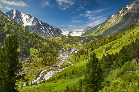 waterfalls: Mountain lake, Russia, Siberia, Altai mountains, Katun ridge. Stock Photo