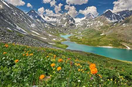 Mountain lake, Russia, Siberia, Altai mountains, Katun ridge. Stok Fotoğraf
