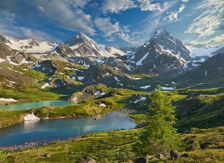 snow capped mountains: Mountain lake, Russia, Siberia, Altai mountains, Katun ridge. Stock Photo