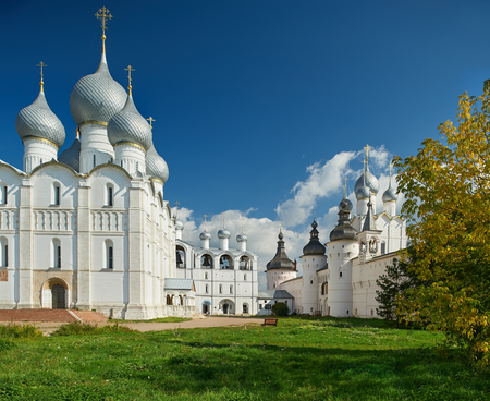 golden ring: Assumption Cathedral and church of the Resurrection in Rostov Kremlin. The ancient town of Rostov The Great is a tourist center of the Golden Ring of Russia. Editorial