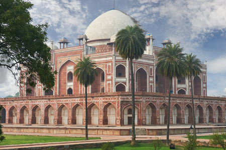 mughal: Humayun Tomb,New Delhi The last refuge of Mughal Emperor Humayun reminds rather of a luxurious palace, than a tomb. Humayuns Tomb is one of the most popular tourist destination in India. Stock Photo