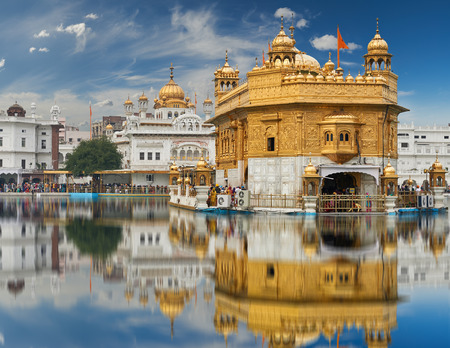 dome of hindu temple: Famous indian landmark - Sikh gurdwara Golden Temple Harmandir Sahib. Amritsar, Punjab, India